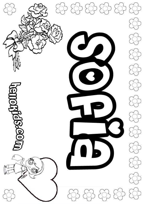 girls name coloring pages, Sofia girly name to color