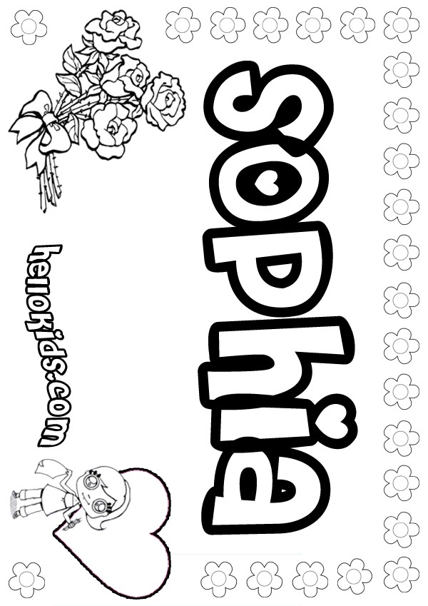 girls name coloring pages Sophia