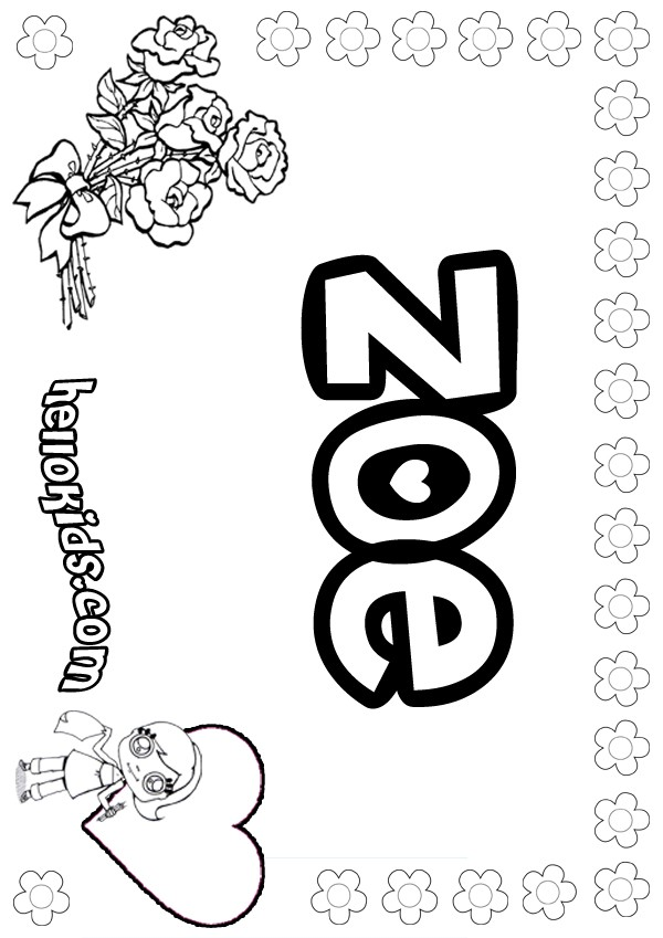 Zoe coloring page