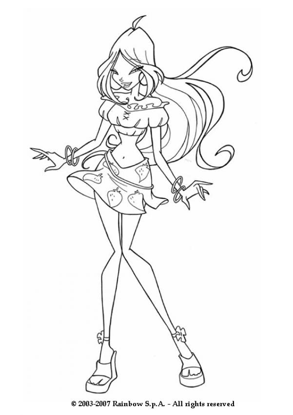 winx club coloring pages flora - flora wearing a strawberry skirt coloring pages
