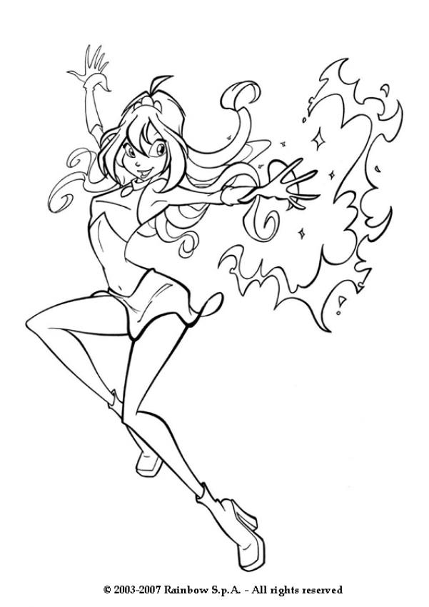 Coloring Pages Le Bloom : Winx bloom with magic power coloring pages hellokids
