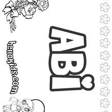 Abi - Coloring page - NAME coloring pages - GIRLS NAME coloring pages - A names for girls coloring sheets