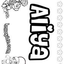 Aliya - Coloring page - NAME coloring pages - GIRLS NAME coloring pages - A names for girls coloring sheets