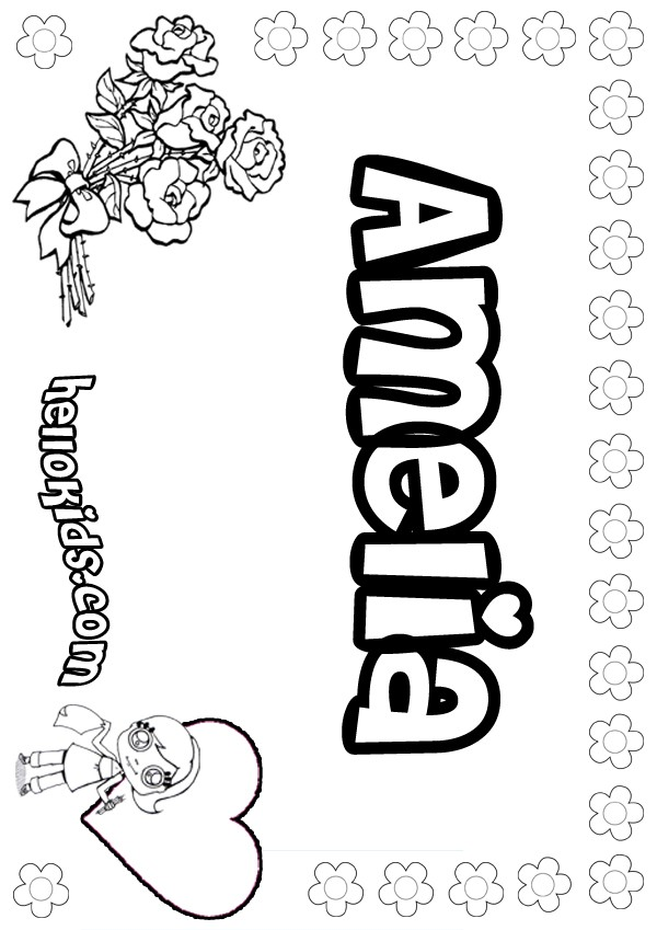 Amelia coloring pages for Kids name coloring pages