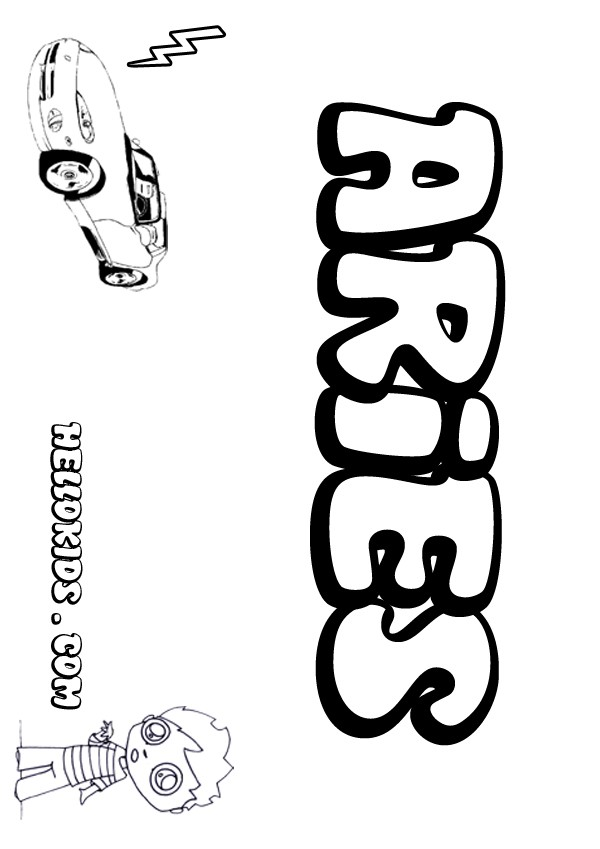Avery Name Coloring Pages Aries Coloring Page