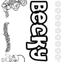 Becky - Coloring page - NAME coloring pages - GIRLS NAME coloring pages - B names for girls coloring sheets