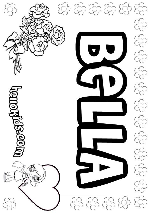 Graffiti coloring pages names bella