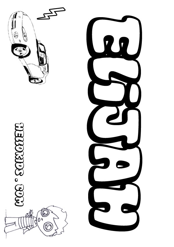 Kids name coloring pages elijah boy name to color for Kids name coloring pages