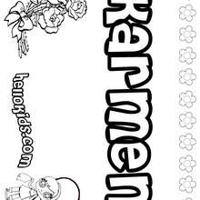 Karmen - Coloring page - NAME coloring pages - GIRLS NAME coloring pages - K names for girls coloring posters