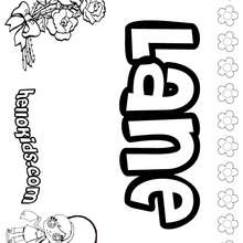 Lane - Coloring page - NAME coloring pages - GIRLS NAME coloring pages - L girl names coloring posters