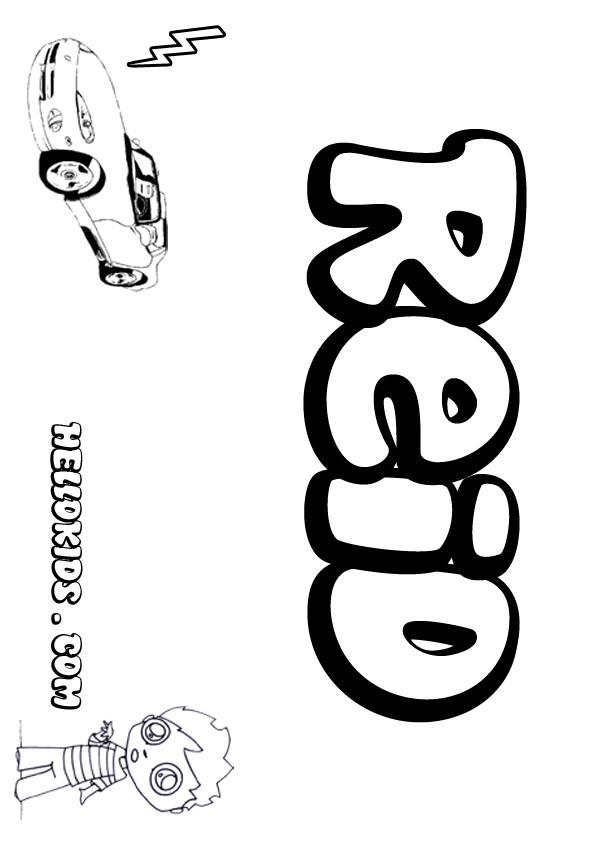 reid name. reid coloring page name