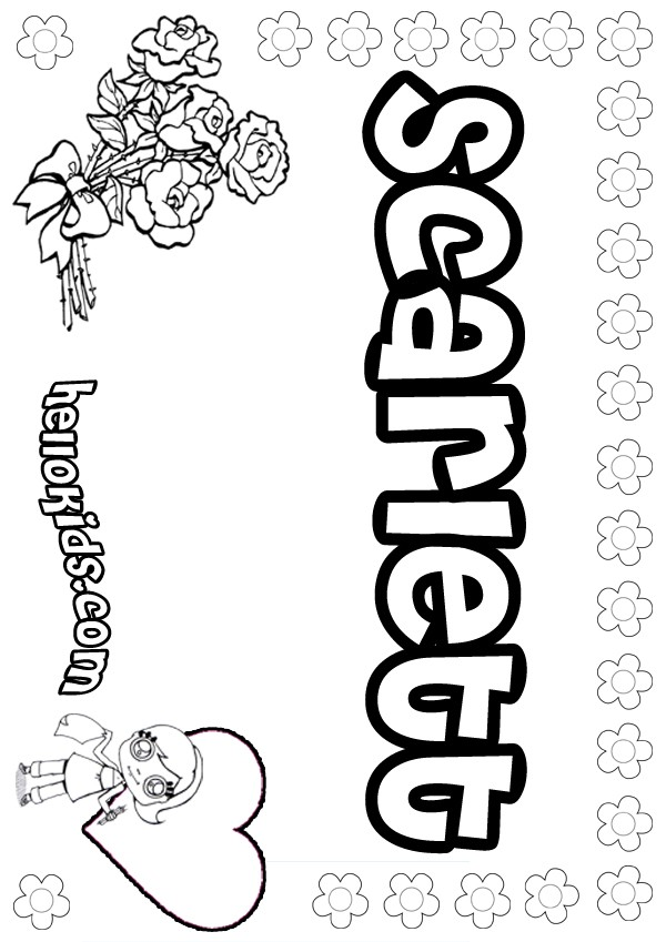 Scarlett Coloring Page Name Pages S