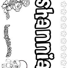 Shannia - Coloring page - NAME coloring pages - GIRLS NAME coloring pages - S girls names coloring posters