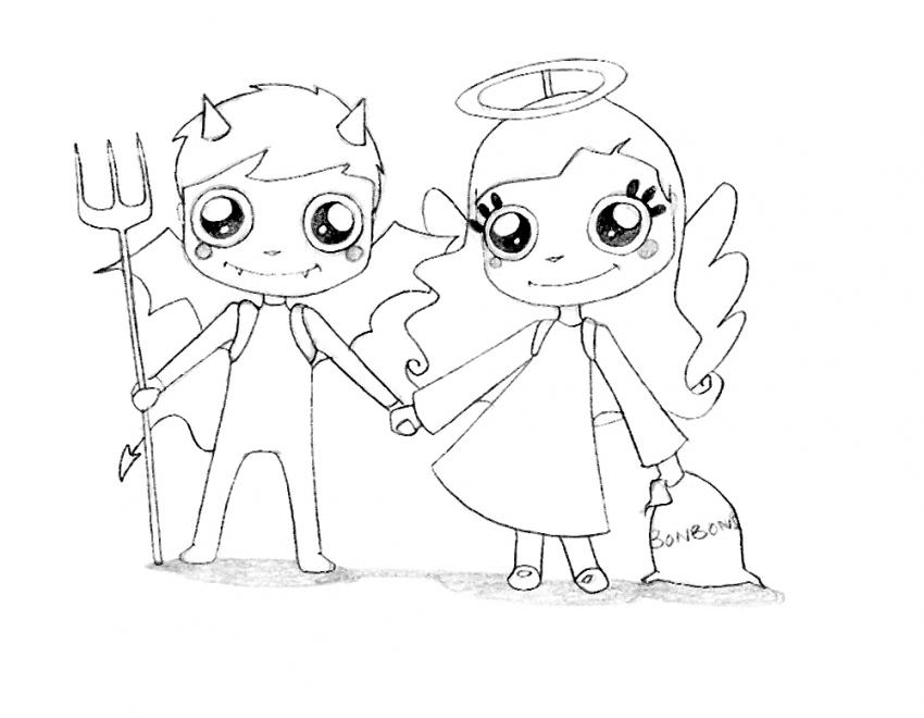 Angel And Devil Coloring Page