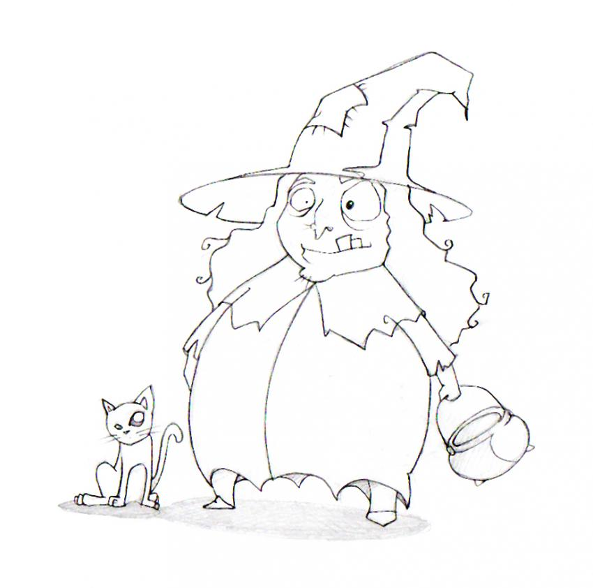 Black cat and witch coloring page