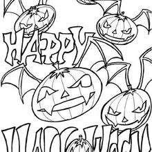 Halloween Bat Pumpkins - Coloring page - HOLIDAY coloring pages - HALLOWEEN coloring pages - HALLOWEEN PUMPKIN coloring pages