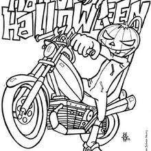 Pumpkin biker coloring page