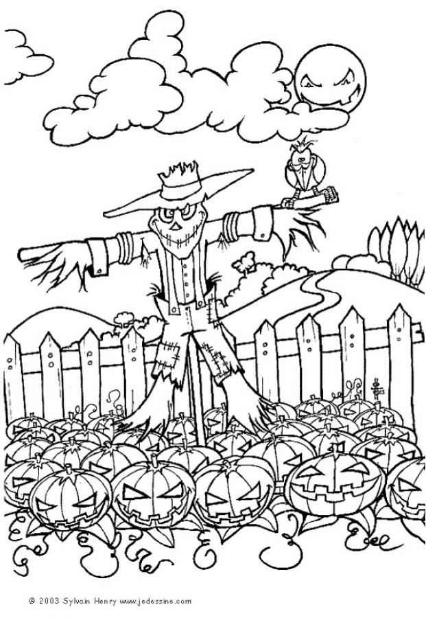 halloween scarecrow coloring pages printable - photo#13