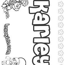 Karley - Coloring page - NAME coloring pages - GIRLS NAME coloring pages - K names for girls coloring posters