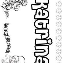 Katrina - Coloring page - NAME coloring pages - GIRLS NAME coloring pages - K names for girls coloring posters