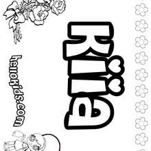 Kiia - Coloring page - NAME coloring pages - GIRLS NAME coloring pages - K names for girls coloring posters
