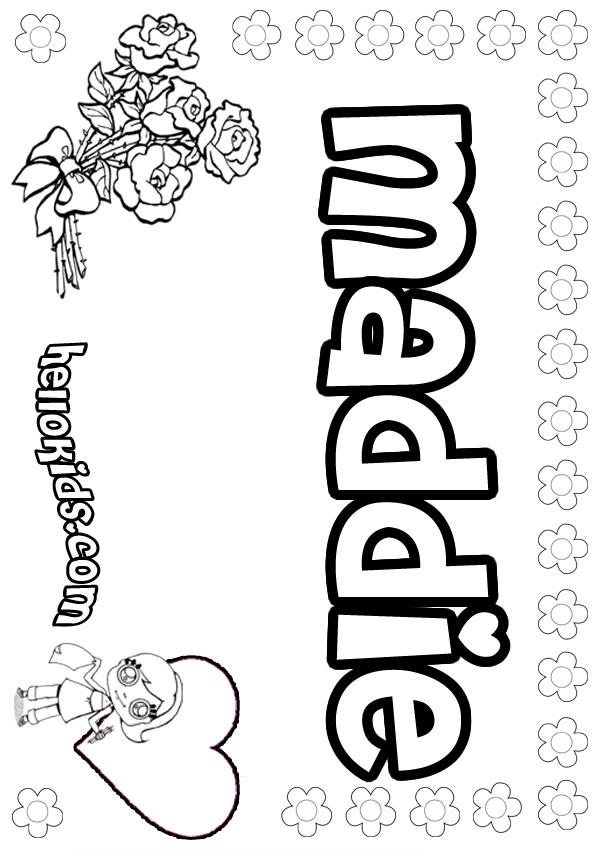 girls name coloring pages, Maddie girly name to color