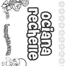 Ociana Rechelle - Coloring page - NAME coloring pages - GIRLS NAME coloring pages - O, P, Q names fo girls posters