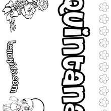 Quintana - Coloring page - NAME coloring pages - GIRLS NAME coloring pages - O, P, Q names fo girls posters