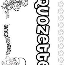Quozette - Coloring page - NAME coloring pages - GIRLS NAME coloring pages - O, P, Q names fo girls posters
