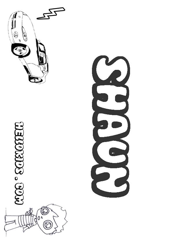 kids name coloring pages, Shaun boy name to color