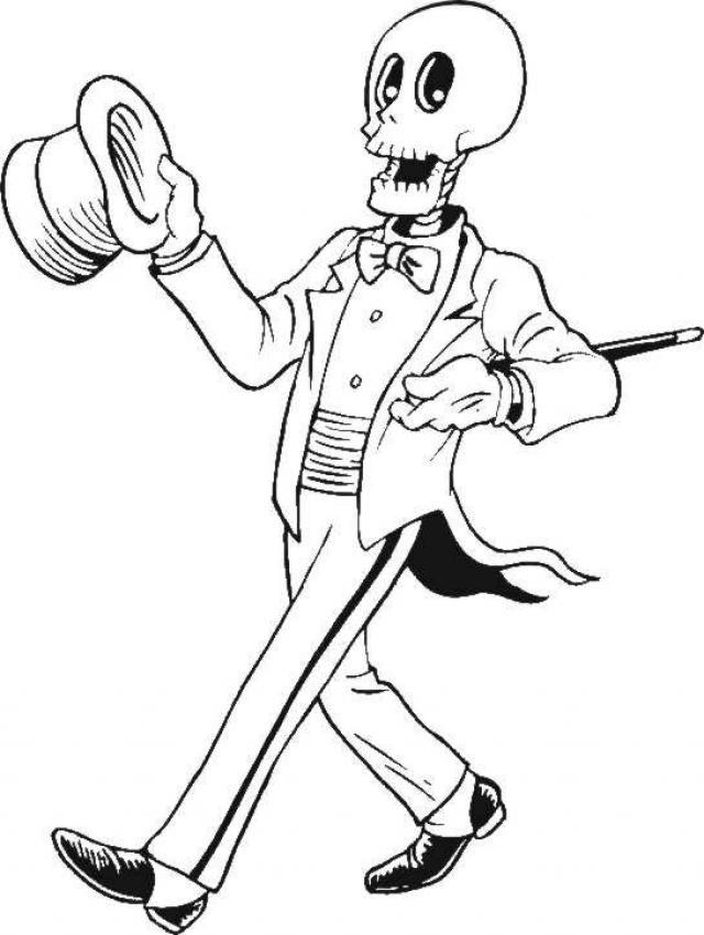 gentleman skeleton coloring page