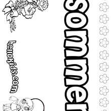 Sommer - Coloring page - NAME coloring pages - GIRLS NAME coloring pages - S girls names coloring posters