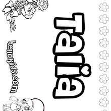Talia - Coloring page - NAME coloring pages - GIRLS NAME coloring pages - T names for girls coloring and printing posters