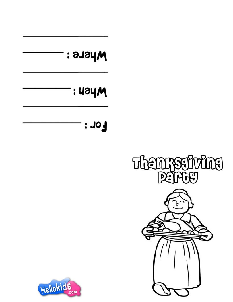 Thanksgiving coloring games online - Running Turkey Theme Thanksgiving Dinner Invitation Yummy Dinner Coloring Page Holiday Coloring Pages Thanksgiving Coloring