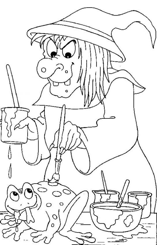 Witch paints a frog coloring page