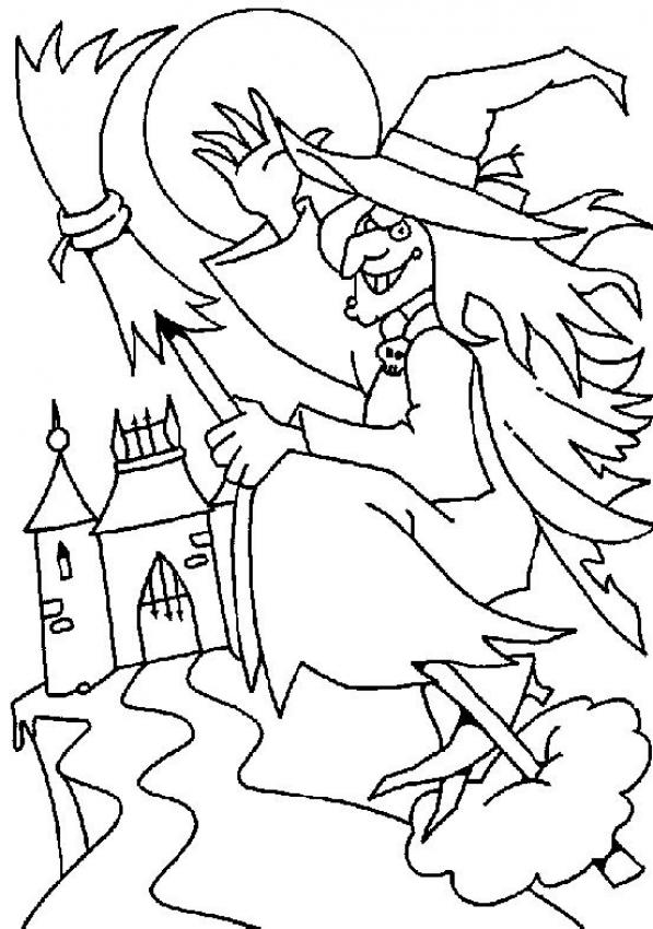 Witch flies coloring page