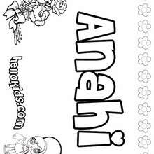 Anahi - Coloring page - NAME coloring pages - GIRLS NAME coloring pages - A names for girls coloring sheets