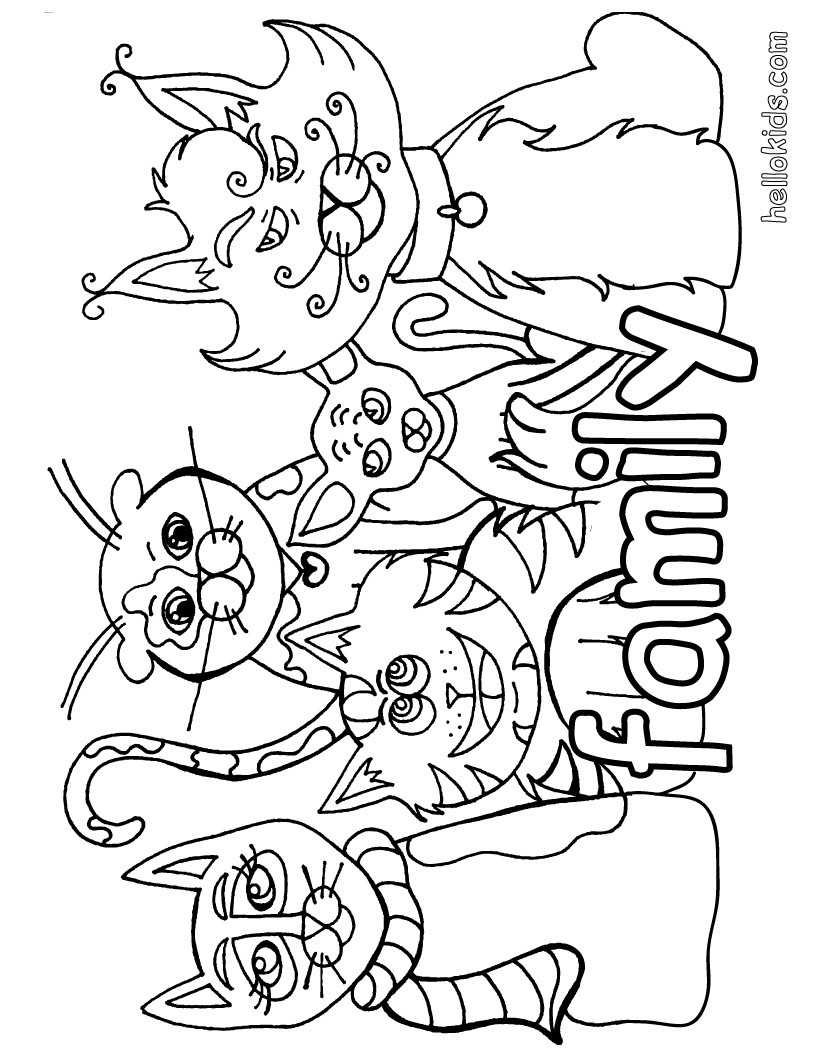 family coloring page - cat coloring pages cat family