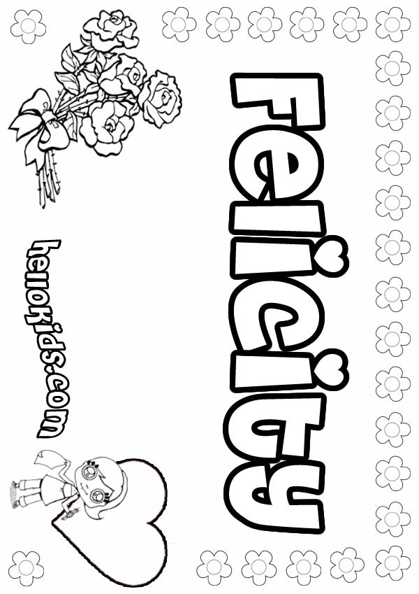 girls name coloring pages, Felicity girly name to color