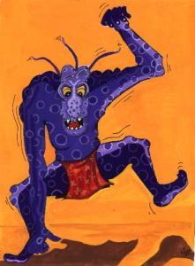 Spotty blue Monster artwok design