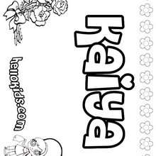 Kaiya - Coloring page - NAME coloring pages - GIRLS NAME coloring pages - K names for girls coloring posters