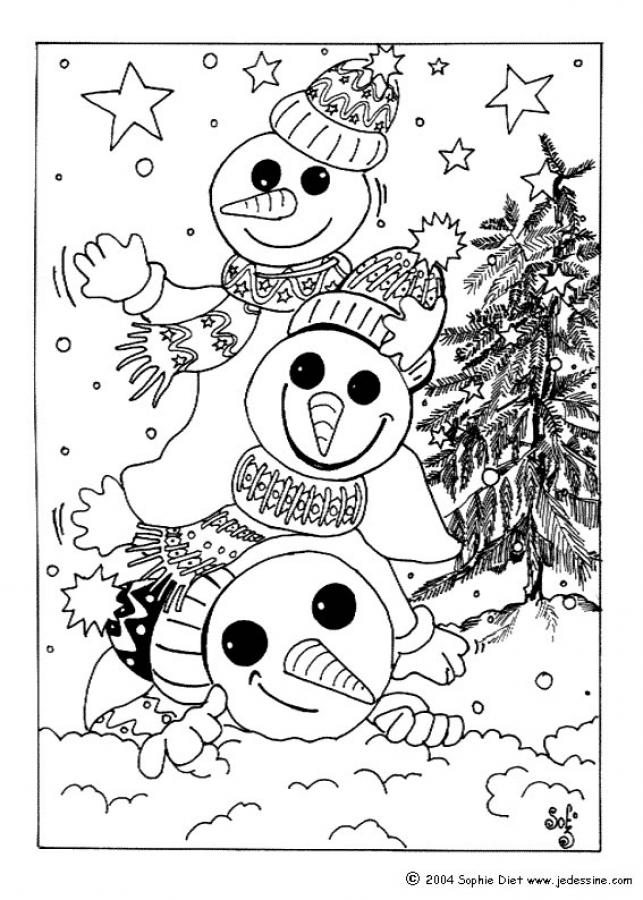 Snowman Coloring Pages Snowmen For Christmas Eve Tree And Snowman Coloring Pages