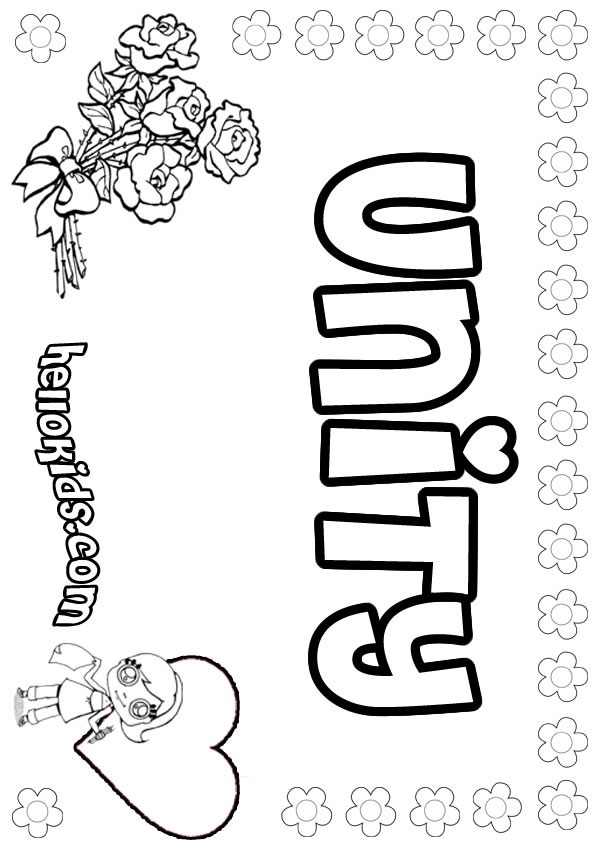 Girls Name Coloring Pages Unity Girly Name To Color