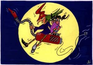 Witch on the broom artwok design