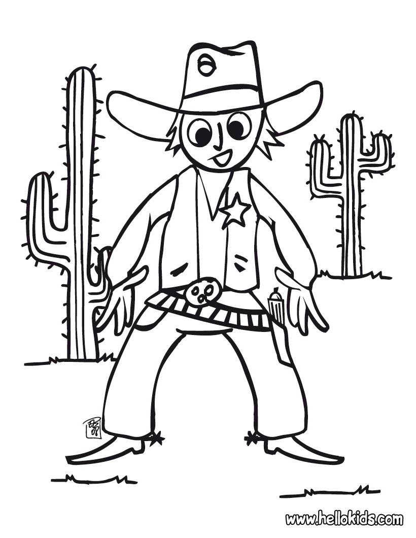 cowboy duel coloring page