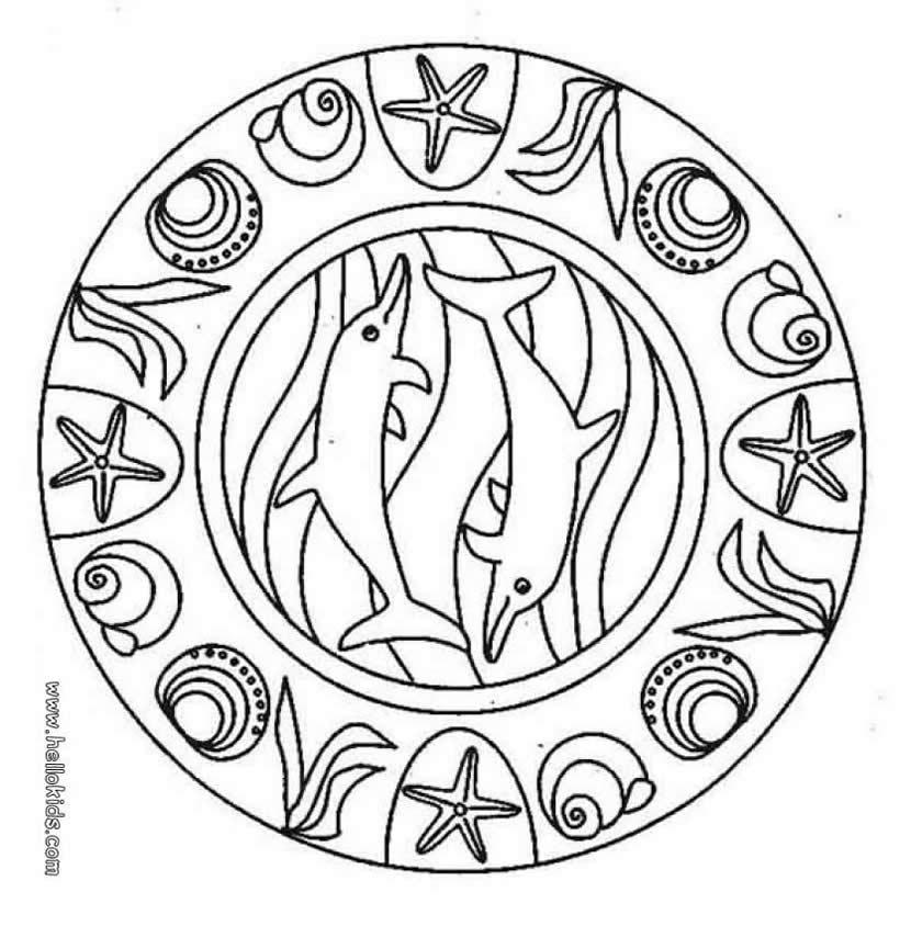 Dolphin mandala coloring page 2011