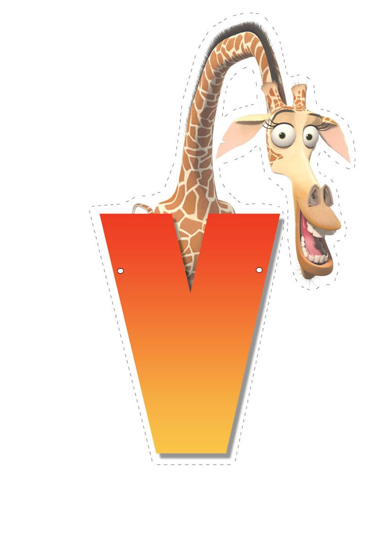 Giraffe letter V letter