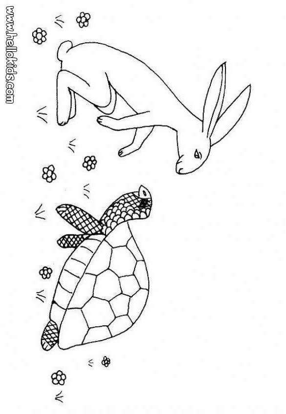 Hare and tortoise coloring pages - Hellokids.com