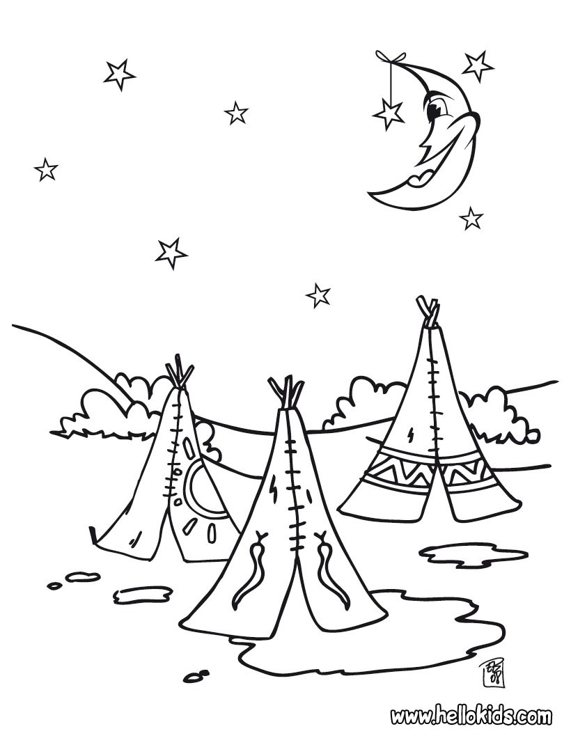 Indian coloring pages indian tepees for Village coloring page