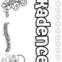 Kadence - Coloring page - NAME coloring pages - GIRLS NAME coloring pages - K names for girls coloring posters